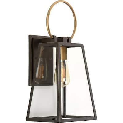 Barnett Collection 1-Light Antique Bronze Clear Glass Farmhouse Outdoor Medium Wall Lantern Light