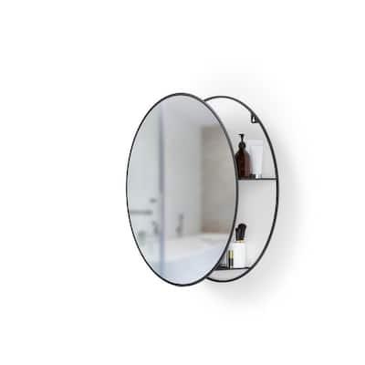 CIRKO 20 in. W x 20 in. H Round Black Mirror