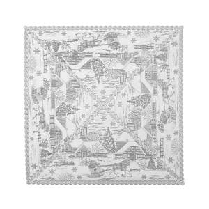 Sleigh Ride 42 in. W x 42 in. L White Floral Polyester Table Topper