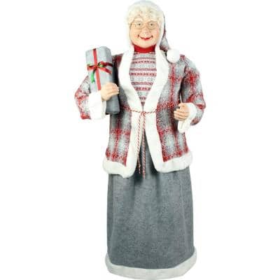 5 ft. Christmas Standing Mrs. Claus Holding a Gift and Wearing a Tweed Jacket with White Fur Trim