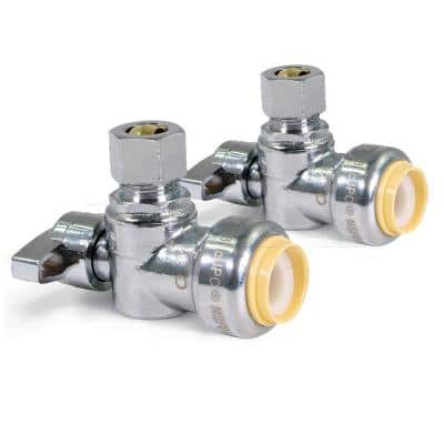 1/2 in. Push-to-Connect x 1/4 in. O.D. Compression 1/4 Turn Angle Stop Valve Water Shut Off Chrome pack of 2