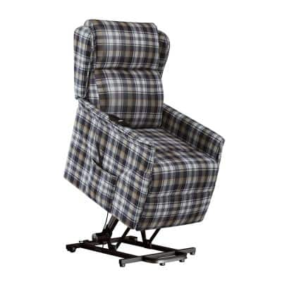 Classic Black and Gray Plaid Wingback Power Recline and Lift Chair