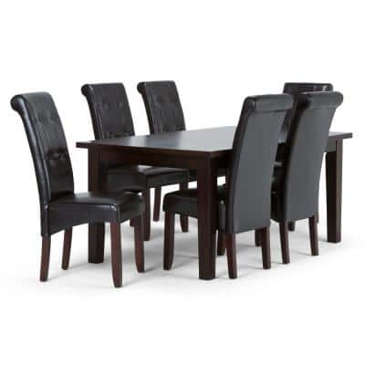 Cosmopolitan 7-Piece Dining Set with 6 Upholstered Dining Chairs in Tanners Brown Faux Leather and 66 in. Wide Table