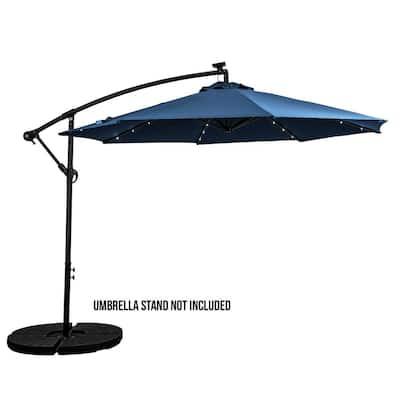 10 ft. Cantilever Offset Aluminum Solar Umbrella Cross Base in Denim Blue