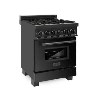24 in. 2.8 cu. ft. Dual Fuel Range with Gas Stove and Electric Oven in Black Stainless Steel with Brass Burners