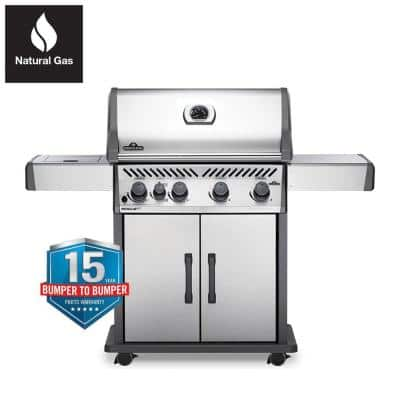 Rogue 4-Burner Natural Gas Grill with Infrared Side Burner in Stainless Steel