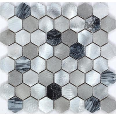 CHENX 11.89 in. x 12.40 in. x 6 mm Aluminum and Stone Mosaic Backsplash in Black/Gray /Sliver (11.18 sq. ft./Case)