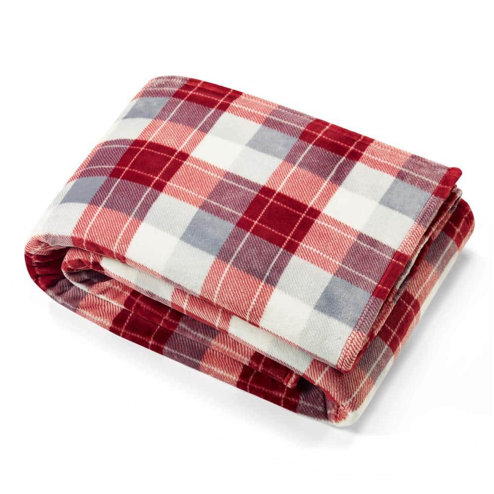 Nautica Bluff Plaid Red Ultra Soft Microfiber Twin Fleece Blanket Ushsee1133388 The Home Depot