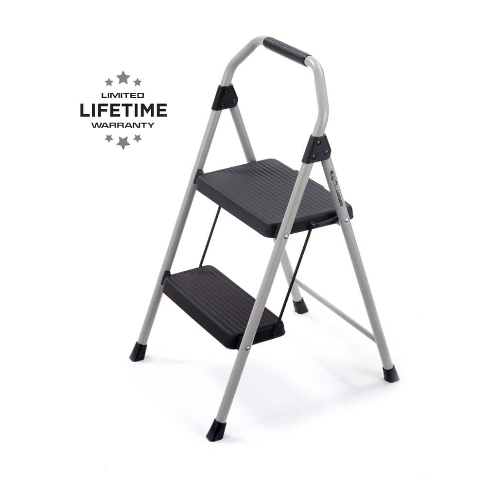 Gorilla Ladders 2 Step Compact Steel Step Stool With 225 Lbs Load Capacity Type Ii Duty Rating Gls 2cs The Home Depot