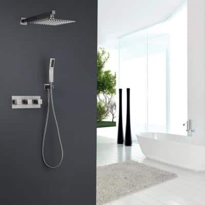 1-Spray Patterns with 2 GPM 10 in. Wall Mount 360-Degree High Pressure Dual Shower Heads in Brushed Nickel