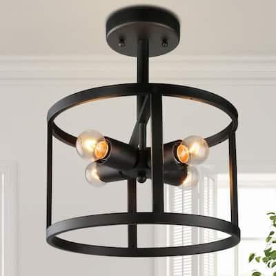 Black Semi Flush Mount Light, Modern 4-Light Matte Black Drum Industrial Kitchen Semi Flush Mount Bedroom Ceiling Light