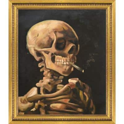"""""""Skull of a Skeleton with Burning Cigarette"""" by Vincent Van Gogh Framed Abstract Wall Art Oil Painting 25 in. x 29 in."""