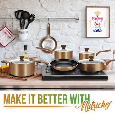 13-Piece Aluminum Cookware Set Non-Stick in Brown