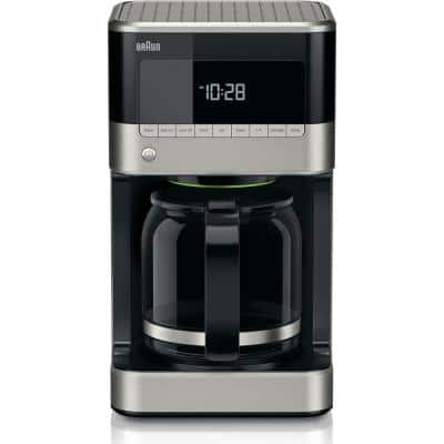 BrewSense 12-Cup Programmable Black and Stainless Steel Drip Coffee Maker with Temperature Control