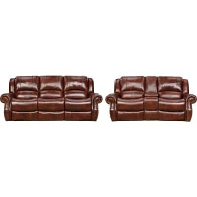Aspen 2-Piece Oxblood 100% Genuine Leather Set with Double-Reclining Sofa and Gliding Console Loveseat, HUM003SET2-OB
