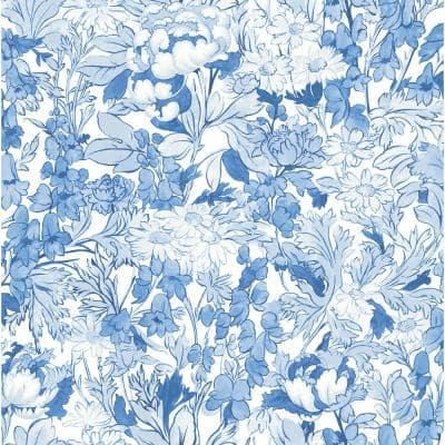 Blue Toile Foliage Peel and Stick Wallpaper
