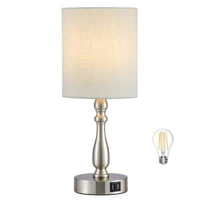 16.5 in. Brushed Steel Touch Control 3-Way Table Lamp with 2 USB Ports, 4-Watt LED Bulb Included