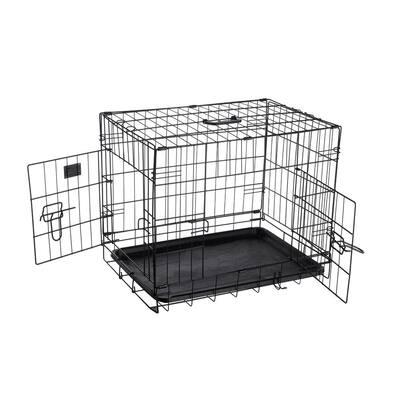 24 in. L x 17 in. W 2-Door Folding Pet Crate