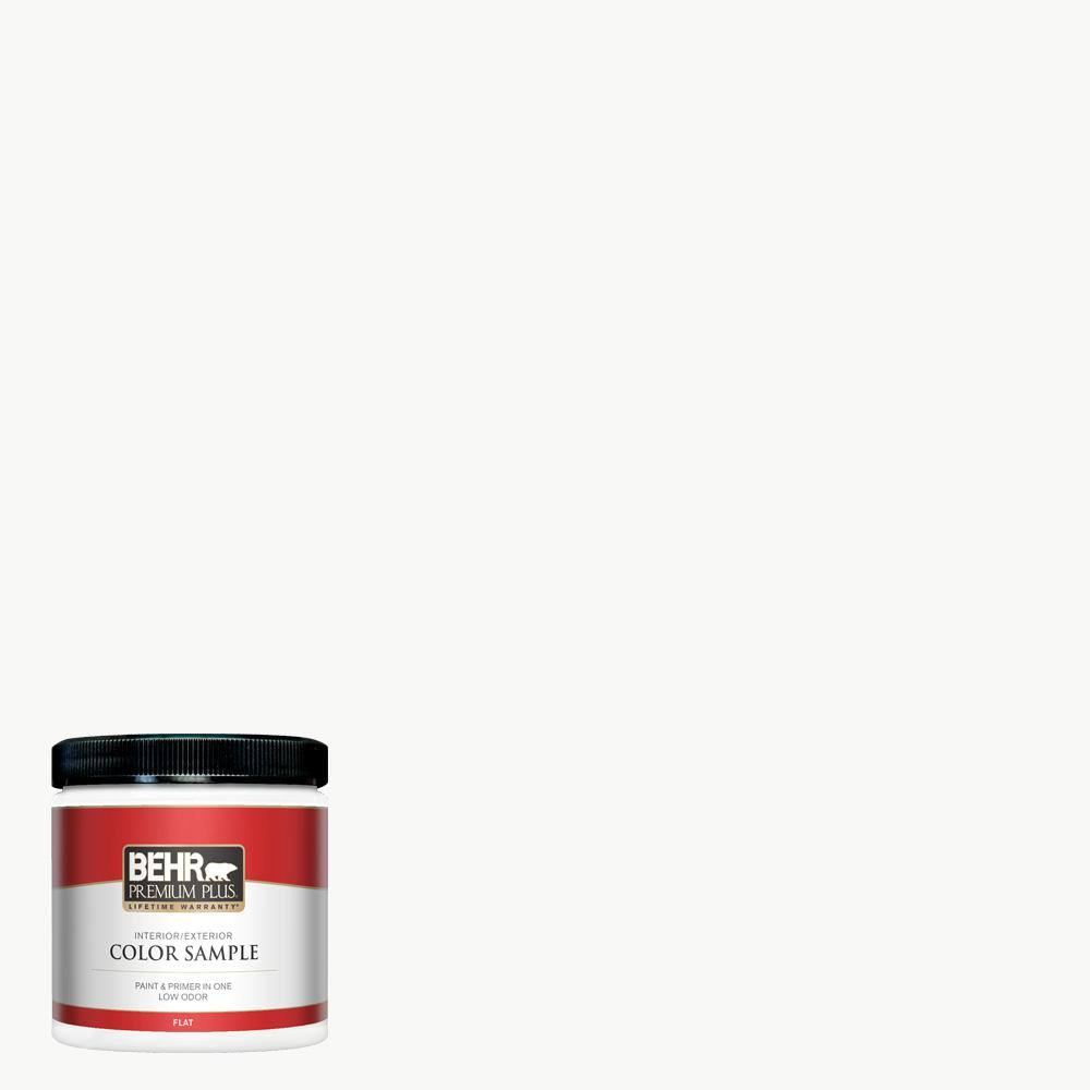 BEHR PREMIUM PLUS 8 oz. #100 Ultra-Pure White Flat Interior/Exterior Paint and Primer in One Sample