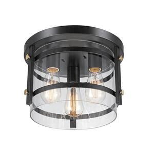 Wexford 3-Light Dark Bronze Semi-Flush Mount Ceiling Light with Clear Glass