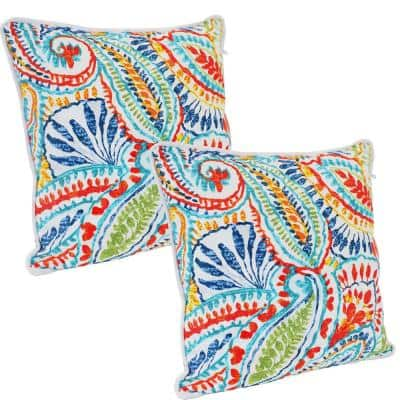 16 in. Outdoor Throw Pillows in Bold Paisley (Set of 2)