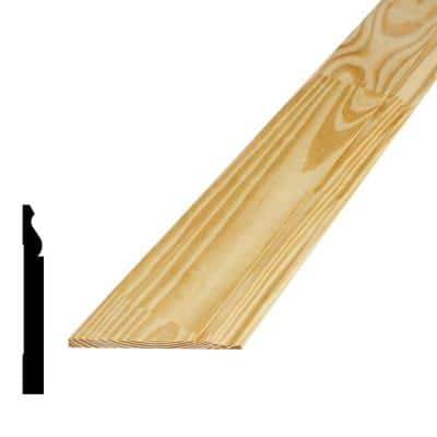 9/16 in. x 5-1/4 in. x 96 in. Finger-Jointed Pine Wood Baseboard Moulding