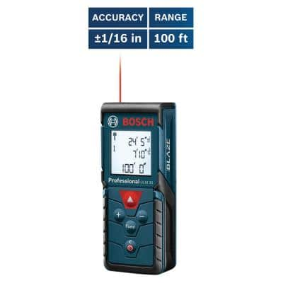 BLAZE 100 ft. Laser Distance Tape Measuring Tool with Area and Volume Calculation