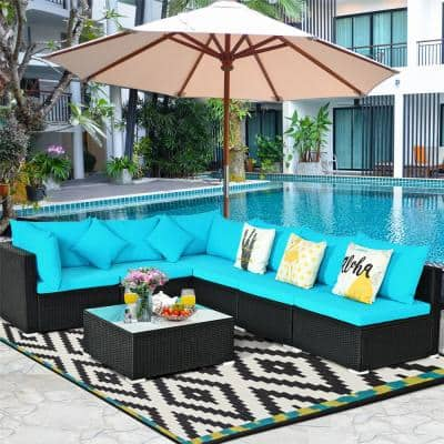 Island 7-Piece Wicker Patio Conversation Set with Turquoise Cushions