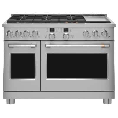 48 in. 8.25 cu. ft. Smart Double Oven Dual Fuel Range with Self-Cleaning Convection Oven in Stainless Steel