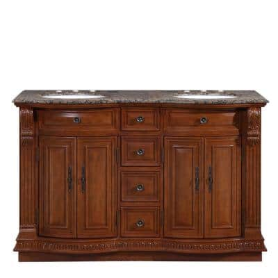 55 in. W x 22 in. D Vanity in Cherry with Granite Vanity Top in Baltic Brown with White Basin