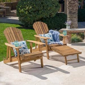 Oakley Natural Stained Reclining Wood Adirondack Chair with Footrest (2- Pack)