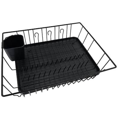 Black Large Metal Dish Drying Rack with Drying Mat