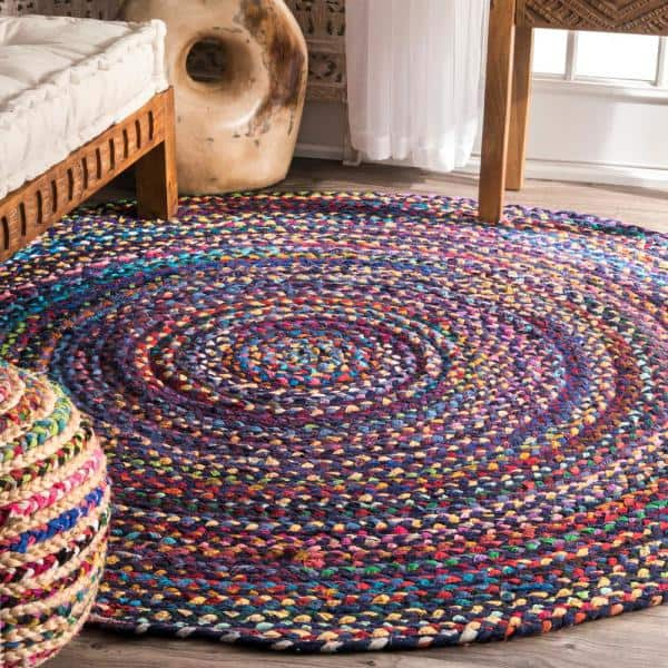 Nuloom Tammara Colorful Braided Purple Multi 8 Ft Round Rug Mgnm04b 808r The Home Depot