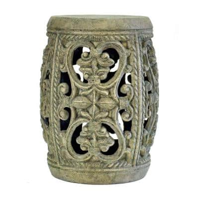 19 in. H Cast Stone Garden Patio Stool in Special Aged Granite Finish