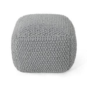 Finch Square Light Gray Knitted Cotton Pouf