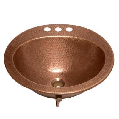 Bell Drop-In Handmade Copper Bathroom Sink with 4 in. Faucet Holes and Overflow in Antique Copper