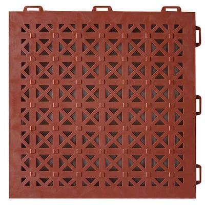 StayLock Perforated Terra Cotta 12 in. x 12 in. x 0.56 in. PVC Plastic Interlocking Outdoor Floor Tile (Case of 26)