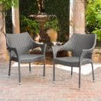 Mirage Stacking Grey Wicker Outdoor Dining Chairs (4-Pack)