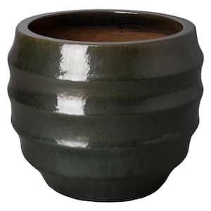 26 in. Dia Short Pupa Gulf Green Round Ceramic Planter