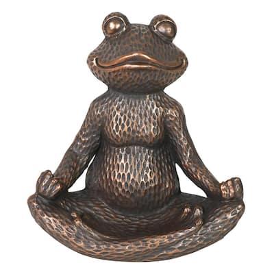 Meditating Frog Resin Bird Feeder