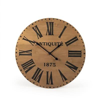 Alexis Dark Grey Roman Numeral on Wooden Faced Clock