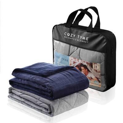 """Ekon Weighted Blanket 25 Pound 72""""x80"""", Navy"""