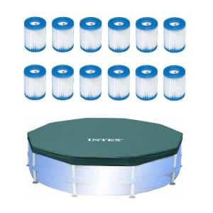 Filter Cartridge for Swimming Pool (12-Pack) with 10 ft. x 10 ft. Pool Cover for Above Ground Round10 ft. Pools