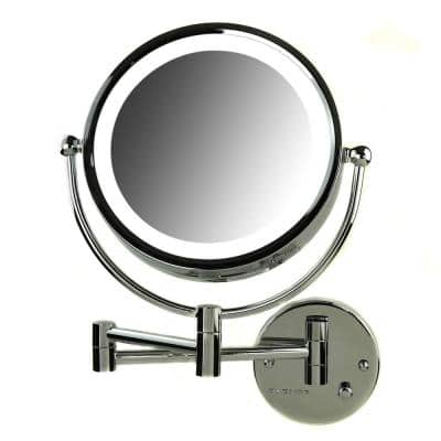 Hardwired 4.7 in. W x 12.4 in. H Framed Round Bathroom Vanity Mirror in Chrome