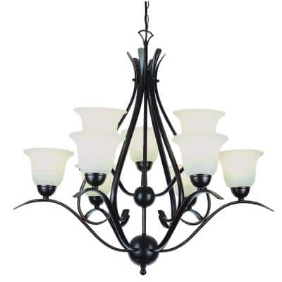 Aspen 9-Light Rubbed Oil Bronze Tiered Chandelier with Marbleized Glass Shades