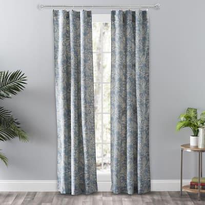 Blue Leaf Rod Pocket Room Darkening Curtain - 56 in. W x 84 in. L (Set of 2)
