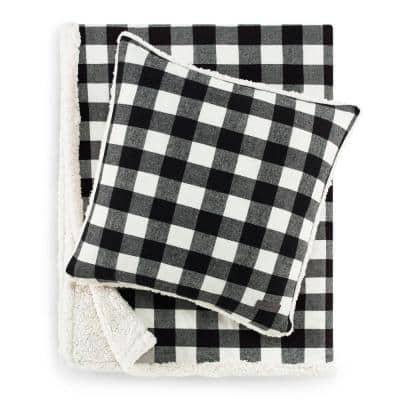 Cabin Black Plaid Sherpa Reverse 2-Piece Throw Blanket and Pillow Set