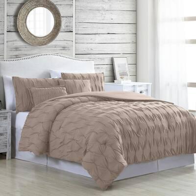 Harper 5-Piece Taupe Microfiber Queen Comforter Set