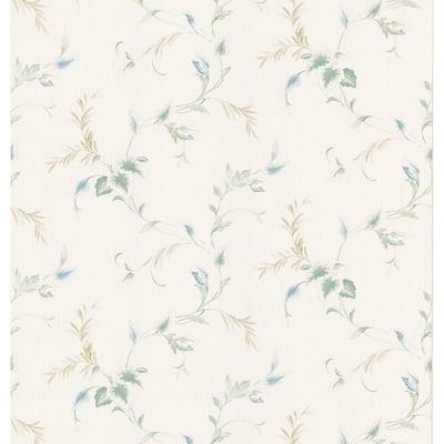 Textured Leaf White Wallpaper Sample