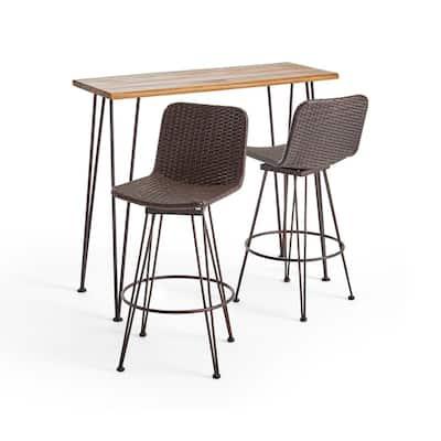 Penley Teak Brown 2-Piece Wood and Metal Outdoor Serving Bar Set
